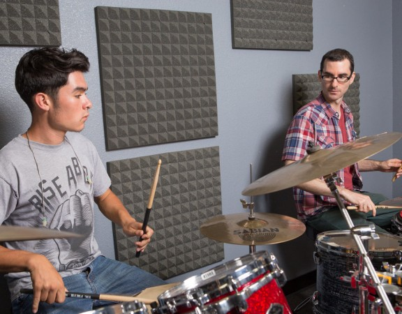 David O teaching drum student